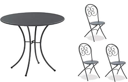 Table pour extérieur Pigalle Kiss Diamètre 60 cm + 3 chaises pliantes Pigalle 924 – en fer galvanisé et verni à la poudre – Couleur fer antique fantaisie 22 – Produit fabriqué en Italie