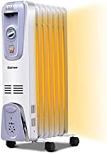 COSTWAY Oil Filled Radiator Heater, 1500W Portable Space Heater with Adjustable Thermostat, 3 Heat Settings, Overheat & Tip-Over Protection, Electric Heater for bedroom, Indoor use (25