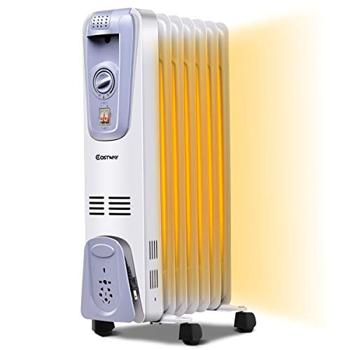 COSTWAY Oil Filled Radiator Heater, 1500W Portable Space Heater with Adjustable Thermostat, 3 Heat Settings, Overheat and Tip-Over Protection, Electric Heater for bedroom, Indoor use