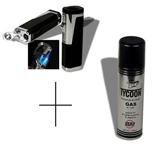 Set Zigarrenfeuerzeug Rio 3xLaser-Bohrer schwarz inkl. Tycoon Premium Spezialgas für Jetflamme