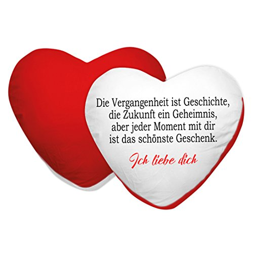 Herzbotschaft Kissen in Herzform Modell: Die Vergangenheit ist Geschichte, Stoff, Rot, 45 x 45 x 10 cm