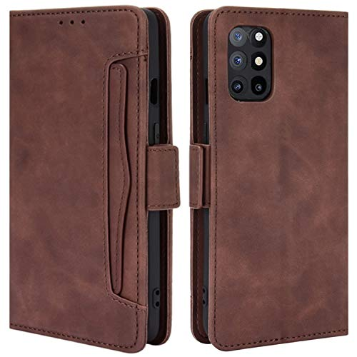HualuBro Handyhülle für OnePlus 8T Hülle Leder, Flip Hülle Cover Stoßfest Klapphülle Handytasche Schutzhülle für OnePlus 8T Tasche (Braun)
