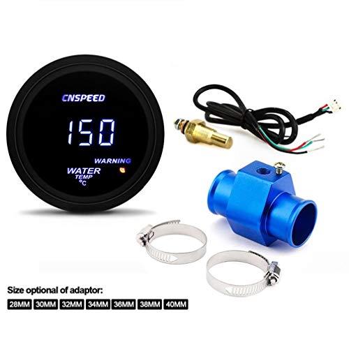 BIingkee Universal Temperaturanzeige mit Sensor, mit Wassertemperatur Kühlerschlauch Wassertemperaturanzeige Sensor Adapter, 40-150°C, 12 Volt, Ø 52 mm (40MM)