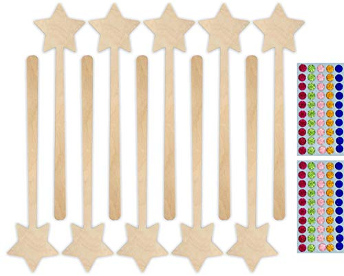 Herr Bo & Co 10x Zauberstab mit 100 selbstkelbenden Glitzersteinen als Set aus unbehandeltem 3mm Birkensperrholz, FSC-Zertifiziert, Made in Germany
