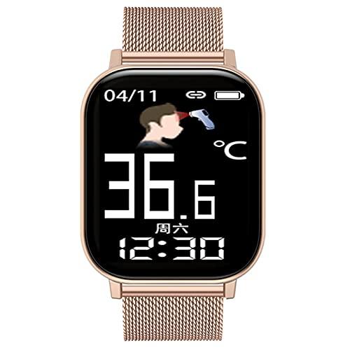 QFSLR Reloj Inteligente Smartwatch con Monitor De Frecuencia Cardíaca Monitoreo De Temperatura De Reloj Inteligente Monitor De Presión Arterial Monitoreo De Oxígeno En Sangre,Pink e