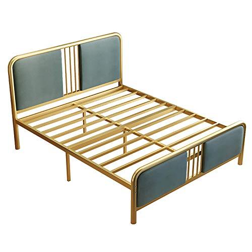 FTFTO Haushaltsprodukte Modernes und prägnantes schmiedeeisernes Bett kleine Wohnung Metallbett 59 Zoll einzelnes doppeltes Eisenbett grau grün blau 59 * 79in