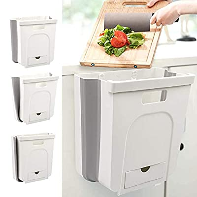 Canva Small Hanging Kitchen Trash Can, Collapsi...