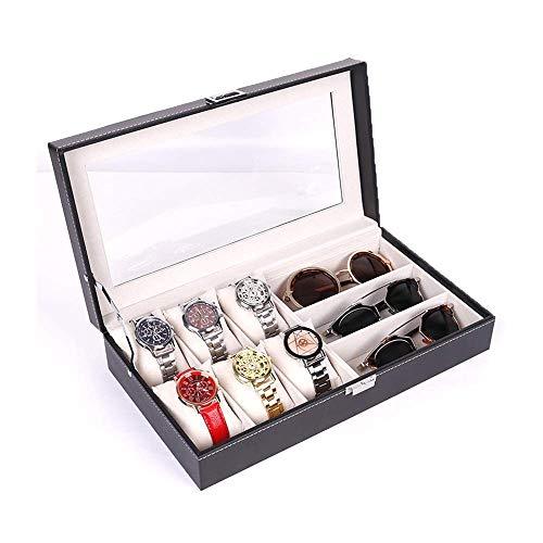 DXX-HR Caja de reloj de joyería caja de gafas de sol y exhibición de los vidrios del organizador del caso de 6 piezas caja del reloj y 3 piezas de las lentes de almacenamiento de cuero Combo Negro rel