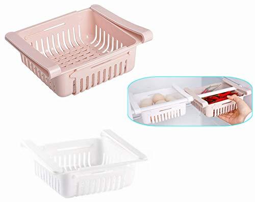 Voarge Kühlschrankregal, Kühlschrankschublade, verstellbares Lagerregal, Kühlschrank-Aufbewahrungsbox, Hängekorbregal Haushaltsschubladen-Typ (2 Stück)