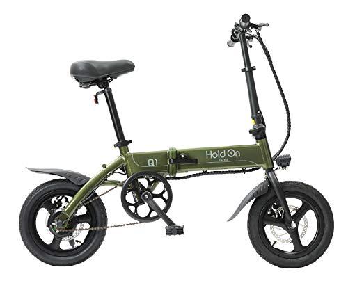 HoldOn Q1J 電動アシスト自転車 折りたたみ 型式認定 14インチ メタリックカーキ 緑