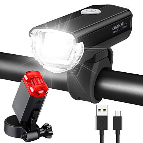 OMERIL LED Fahrradlicht Set Fahrradbeleuchtung STVZO Zugelassen Fahrradlampe Aluminium USB Aufladbar und Wasserdicht Fahrrad Licht mit Vorne und Rücklicht. Sturdy & Duragable