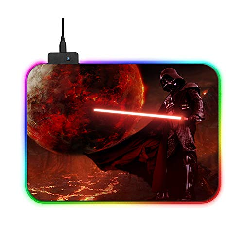 RGB Mouse Pad Star Wars Collection Darth Vader Anakin Skywalker Jedicolor LED Lighting Wired USB 13.8 x 9.8 Inches Fans Logo Table Mat for Gamer