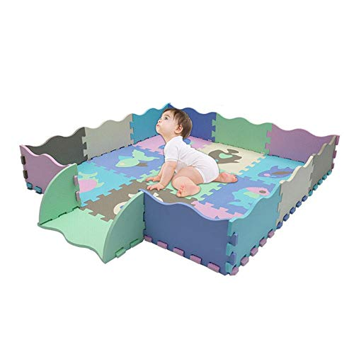 Baby-Bodenmatte,Bloomma Baby Foam Spielmatte mit Zaun, ineinandergreifende Krabbelmatte mit 23 Schaumstoff-Bodenfliesen für Kinder im Kinderzimmer im Kinderzimmer, Kleinkinder
