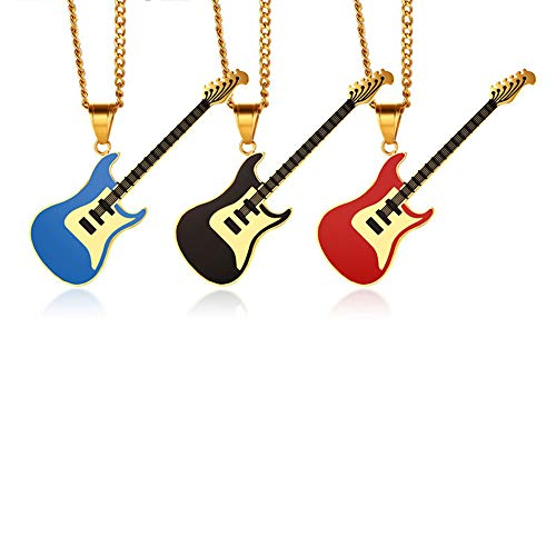 Musical Instrument Pendant Necklace Stainless Steel Guitar Pendant Necklace Men's and Women's Accessories (Red)