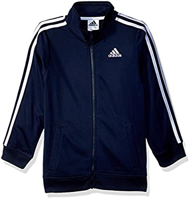 adidas Boys' Little Tricot Active Track Warm-Up Jacket, Collegiate Navy, 5