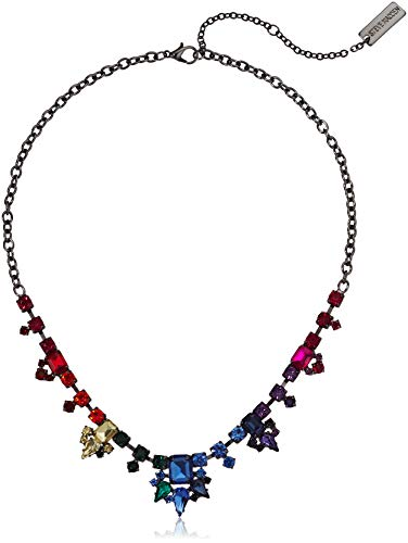 Steve Madden Women's Rainbow Rhinestone Gunmetal-Tone Collar Statement Necklace