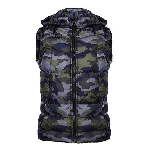 Vêtements pour Hommes d'hiver Noir Camouflage Hoody Veste sans Manches imprimé Manteau Coton Veste vers Le Bas Blue Camouflage XXL