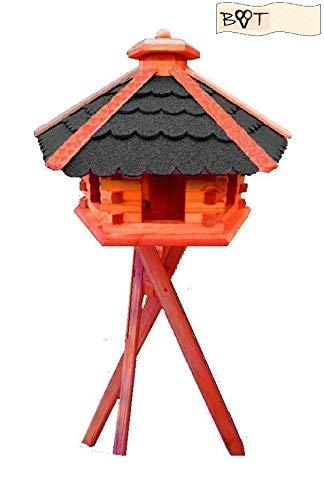 Vogelhaus, Vogelvilla XXXL Vöglehus Vogelhaus, aus Holz mit Silo Holz mit Dach schwarz anthrazit B60atMS mit Ständer