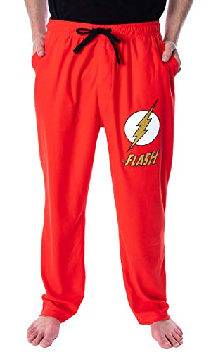 DC Comics Men's The Flash Classic Logo Loungewear Sleep Pajama Pants (X-Large, Red)
