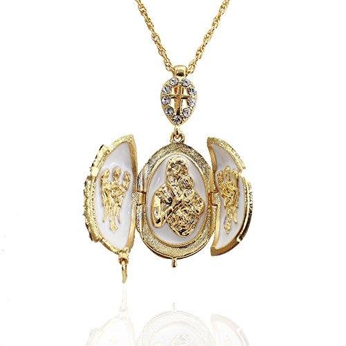 Pendentif Orthodoxe Oeuf Style Fabergé Blanc Ouvrant Croix et 3 Parties Contenant en Son Centre la Vierge et l'enfant entourée de 2 Anges OE18