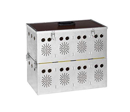 Polmark Cesta (transportín) Doble de Aluminio de 4x2 Compartimentos, para Palomas