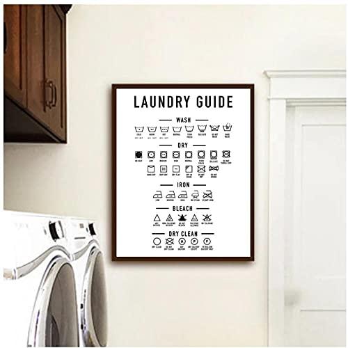 DLFALG Cartel de cita de guía de lavandería, imagen artística de pared en blanco y negro, pintura en lienzo minimalista, impresión, decoración para sala de lavandería, 40x50cm sin marco