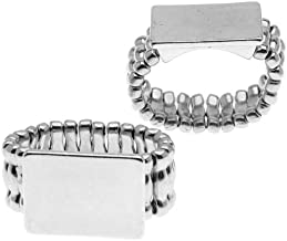 Beadaholique Silver Tone Stretch Ring with Flat Rectangle Pad - 18mm (2)
