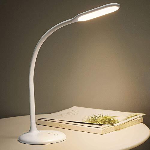 Lámpara de Mesa LED inalámbrica con Pilas, Tira de luz de Lectura Regulable, lámpara táctil de Cuello de Cisne