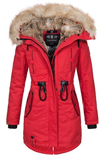 Navahoo warme Damen Winter Jacke lang Kunstfell Winterjacke Parka Mantel B660 [B660-Bomb-Rot-Gr.S]