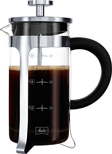 Melitta - Caffettiera a pistone in vetro graduato, French Press, per caffè o tè, contenitore adatto al microonde, in acciaio inox, 1 l (8 tazze) Premium, acciaio inox