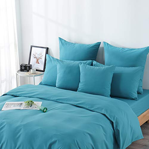 RUIKASI, Juego de funda nórdica de microfibra de 260 x 240 cm + 2 fundas de almohada de 50 x 80 cm, cama de matrimonio, 4 estaciones, color azul pavo real