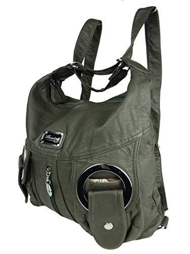 Jody 89297, 2in1 Damen Rucksackhandtasche, Handtasche und Rucksack 37x28x15cm (grau anthrazit dunkelgrau) W6802