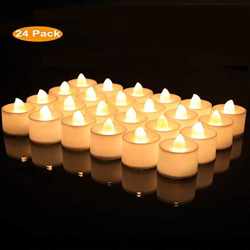 BAONUOR 24 LED Teelichter Flackernde LED Kerzen, Flammenlose Tealights LED flammenlose Kerzen;warmweiß flackernde Teelichter inkl. Batterie CR2032, elektrische Kerzen Deko für Innen und draußen