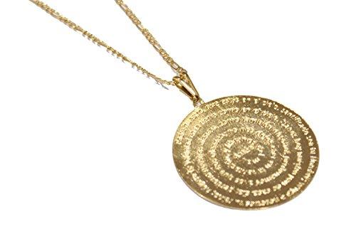 Diamantados of Florida Padre Nuestro - Colgante redondo chapado en oro de 18 quilates con cadena de 50,8 cm