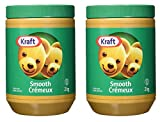 Kraft Peanut Butter Smooth, 2kg/4.4lbs. (2 Jars), Imported from Canada}