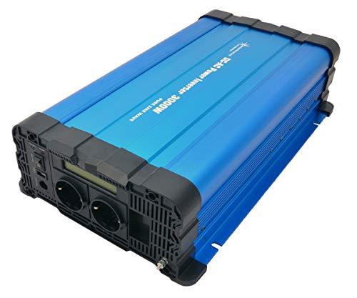 solartronics Spannungswandler FS3000D 24V 3000/6000 Watt Reiner Sinus BLAU m. Display FS Serie Inverter Wechselrichter