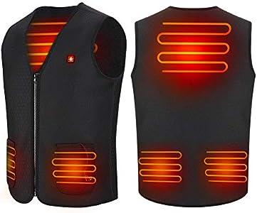 Haofy Chaleco Calefactable para Hombres y Mujeres Chaqueta Térmica de 5 V con Calefacción Ropa Chaleco Termico Electrico, Alimentado por Una Recargable del Banco de Eenergía (L)