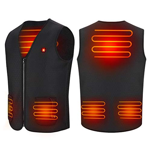 Haofy Heated Vest Electric Heated Jacket for Women Men Heated Clothes USB Charging Heated Gilet Body Warmer Vest Heat Waistcoat with 3 Temperature for Motorcycle Outdoor Hunting Camping Hiking Skiing