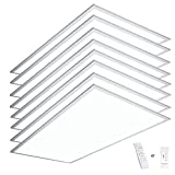 eSenlite 2x4 LED Flat Panel Light Edge Lit 50W 6500 Lumen CCT Color 3000K-5000K Dimmable 2.4G Wireless Control Drop T-Bar Ceiling Surface Hanging Residential Commercial Industrial UL DLC Listed 8 Pack