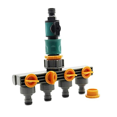 EKYJ Fuerte y Robusto 1 Set (3 Piezas) de 4 vías de derivación del Tubo de Agua de la válvula de Control de Conectores de Manguera Conector Splitter con Quick riego, riego de jardín para jardín