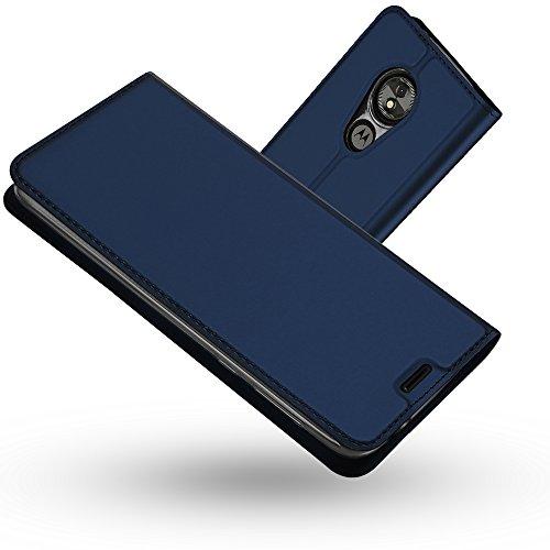 Radoo Coque Motorola Moto E5 Play, Ultra Mince en Cuir PU Premium Housse à Rabat Portefeuille Coque Étui de Protection Bumper Folio à Clapet avec [Fente pour Carte] pour Motorola Moto E5 Play (Bleu)