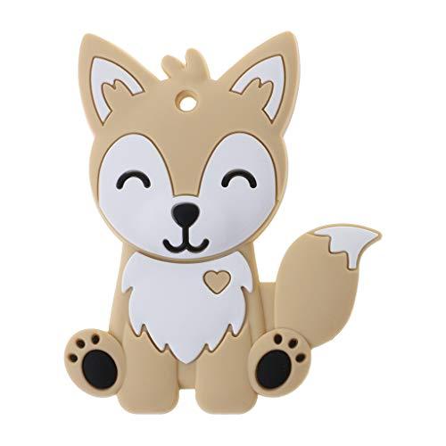 XIANGBEI - Anillo mordedor de silicona de calidad alimentaria, collar de zorro, animales para el cuidado de la dentición de bebés, para bebés y niños pequeños