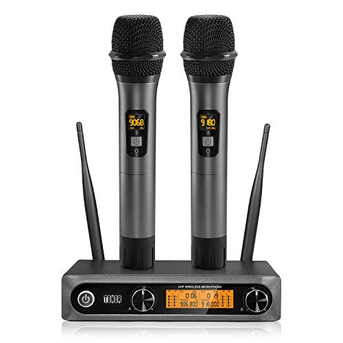 TONOR Wireless Microphone,Metal Dual Professional UHF Cordless Dynamic Mic Handheld Microphone System for Home Karaoke, Meeting, Party, Church, DJ, Wedding, Home KTV Set, 200ft(TW-820)