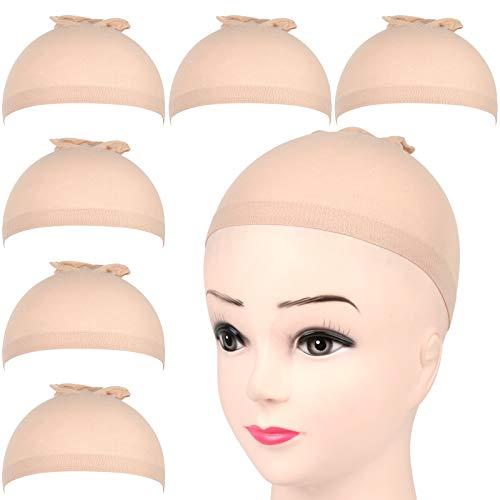 FANDAMEI 6 Stück Perücke Kappen Haarnetz Perücke Set Unterziehhaube Nylon Wig Caps Perückennetz Dehnbare Elastische Atmungsaktive Neutral Nackt Beige Hautfarbe Perückenkappen Haarnetz