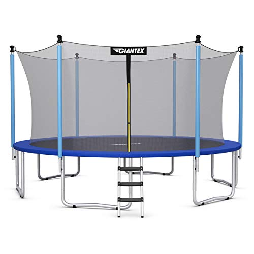 Giantex Trampoline, 12Ft 14Ft 15Ft Outdoor Trampoline with Safety Enclosure Net, Ladder, Jumping Mat, Rust-Resistant Poles, Outdoor Backyard Trampoline for Kids, Adults (15 Ft)