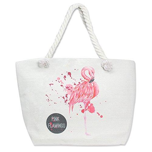 by you große Strandtasche / Reisetasche für Damen, mit Reißverschluss, Schultertasche für den Sommer, Beige (Pink-flamingo), Large