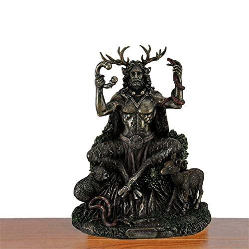 Cernunnos Statues, Celtics Horned God of Animals Resin Statue, The Underworld Statue God of Animals Resin Statue Desk Ornament for Home Garden Decoration