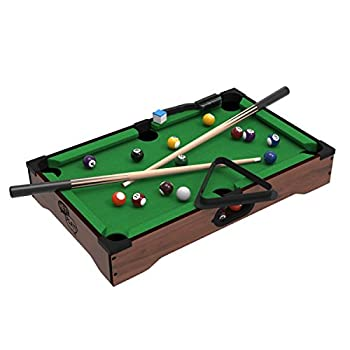 Mini Tabletop Pool Set- Billiards Game Includes Game Balls Sticks Chalk Brush and Triangle-Portable and Fun for the Whole Family by Hey! Play!