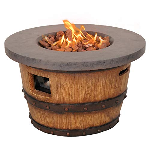 "Dmode Outdoor Fire Pit Table, 50,000 BTU Natural Wood Texture Round Propane Fire Pit with Free Lava for Garden, Bonfire Party, Size 28.5""x17.5"""