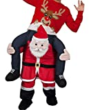 Santa Claus Carry Mascot Costume Ride On Me Halloween, As Picture, Size One Size